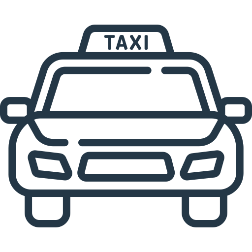 An icon depicting a taxi