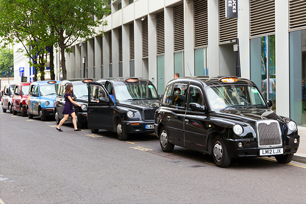 black taxis waiting